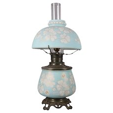 Antique Gone with the Wind Gilt and Painted Satin Glass Electrified Oil Lamp