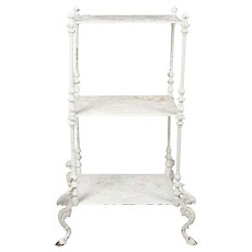 Antique Bradley & Hubbard Painted Cast Iron Three-Tier Foliate Plant Stand