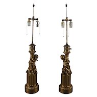 Antique Pair of Classical Bronzed Figural Cherub Dual Light Table Lamp Bases