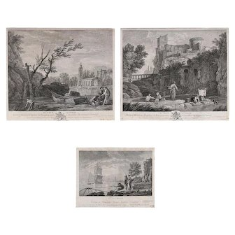 """Three French Joseph Vernet Genre Etchings from """"Veue D'italie"""" Collection"""