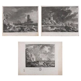 Set of Three French Empire Maritime Etchings of Ships in Rough Seas, circa 1890
