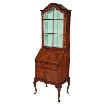 Antique English Georgian Inlaid and Burled Walnut Petite Secretary Bookcase
