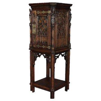 Gothic Figural Carved Oak Polychromed and Gilt Cellarette Cabinet, circa 1880