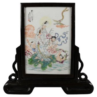 Antique Chinese Hand-Painted Porcelain Table Screen in Carved Stand 19th Century