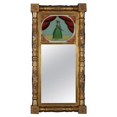 Antique Empire Giltwood Églomisé Portrait Trumeau Wall Mirror, circa 1830