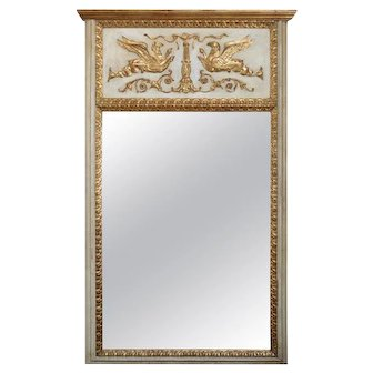 French Empire Neoclassical Carved Giltwood and Whitewash Trumeau Mirror