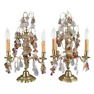 Antique Pair of Bronze and Crystal Prism Fruit Candelabra Lamps, Grape and Leaf
