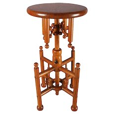 Antique Carved Oak Stick and Ball Adjustable Piano Stool, circa 1880