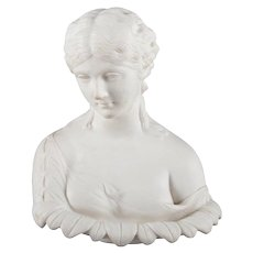 English Copeland School Cast Parian Porcelain Bust of Classical Woman