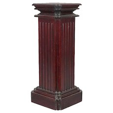 Carved Mahogany Corinthian Column Form Sculpture Display Pedestal, 20th Century
