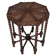 Elizabethan Carved Oak and Cane Barley Twist Octagonal Lamp Stand, circa 1850