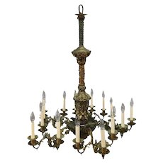 Oversized French Rococo Bronzed and Foliate Form 15-Light Chandelier, circa 1890