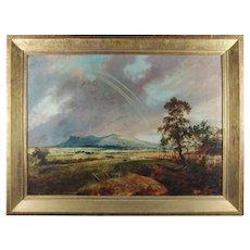 Oversized Oil on Canvas Hudson River School Rainbow Landscape Painting