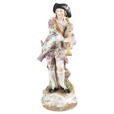 Antique German Meissen School Hand-Painted and Gilt Porcelain Bagpiper Figure