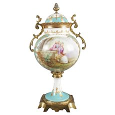 Antique French Sevres School Hand Painted and Gilt Porcelain and Bronze Urn