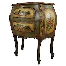 Antique Italian Hand Painted Floral and Gilt Bombe Two-Drawer Commode