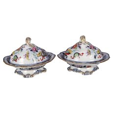 Pair of Antique English Wedgwood Noma Flow Blue and Gilt Porcelain Tureens