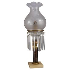Antique Gilt Bronze, Marble and Crystal Solar Lamp, The Queen Ann Burner Co.