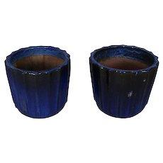 Pair of Monumental Cobalt Glazed Terracotta Pottery Jardinières, 20th Century