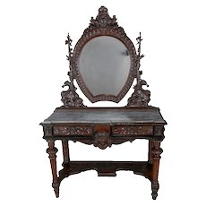 Antique Greek Revival Figural Carved Walnut Dressing Table with Mirror