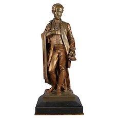 Antique Bronzed Portrait Sculpture of Daniel Webster, Marble Base, 19th Century