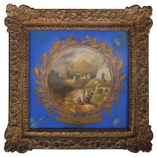 "Antique Hand-Painted Copeland Porcelain Plaque ""Milatus"" Giltwood Frame"