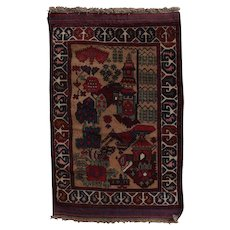 Hand-Knotted Pictorial Nomadic Persian Baluch Mat Rug, 20th Century