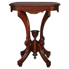 Antique Eastlake Carved Walnut and Burl Lamp Stand with Chalice Finial