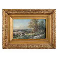 Antique English Oil on Board Landscape Painting, circa 1880