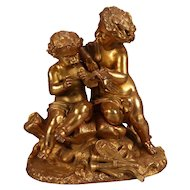 Antique French Classical Gilt Spelter Figural Sculpture by PH Mourey, circa 1890