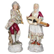 Antique Large Meissen School Hand Painted and Gilt Courting Couple Figures