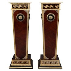 Pair of Matching Neoclassical Mahogany and Ormolu Sculpture Pedestals