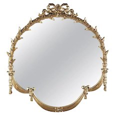 French Louis XV Style Foliate and Drape Giltwood Wall Mirror, 20th Century