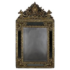 Large Antique French Louis XIV Gilt and Raised Parclose Mirror, 19th Century
