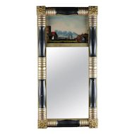 Antique American Empire Eglomise Trumeau Gilt and Ebonized Wall Mirror