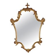 Antique French Louis XV Giltwood Shield Form Scroll and Foliate Wall Mirror