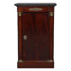 Antique French Empire Mahogany & Bronze Marble Top Side Cabinet, 20th Century