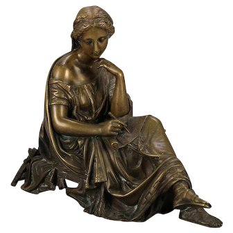 Antique French Classical Bronze Sculpture of Seated Muse after Moreau circa 1890