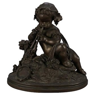 Antique French Classical Bronze Figural Sculpture of Cherub with Flute