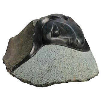 Tribal Alaska Inuit Abstract Carved Stone Sculpture of Stylized Face