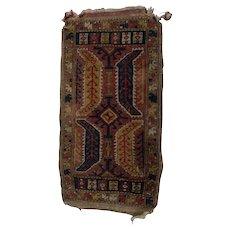 Antique Turkish Hand Knotted Wool Yastik Mat, circa 1900