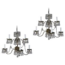 Pair of French Branch Chandelier Rock Crystal Electric Candle Light Wall Sconces