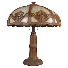 Arts & Crafts Bradley & Hubbard School Slag Glass Panel Table Lamp, circa 1920