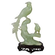 Chinese Carved Jade Figural Grouping of Birds, Pheasant & Sparrow, 20th Century