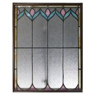 Antique Arts & Crafts Stylized Floral Leaded Slag Glass Window Panel, circa 1910