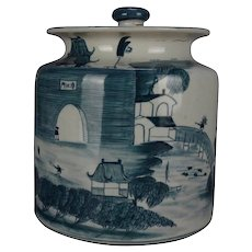 Asian Canton Hand Painted Pictorial Covered Porcelain Jar, Village Scene