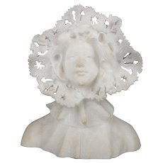 Antique Italian Marble Portrait Sculpture of Woman in Hat after Cipriani
