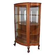 Antique Carved Oak Serpentine RJ Horner Mirrored China Cabinet, circa 1900