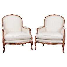 Pair of Oversized French Louis XVI Style Upholstered Berger Armchairs