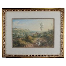 Vintage Italian Watercolor Landscape Painting
